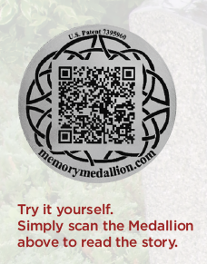 QR MEDALLION memorialization technology at Seven Stones Botanical Gardens Cemetery