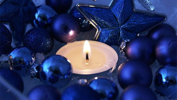 Blue Christmas with candle